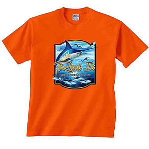 Reel It Like You Stole It Blue Marlin out of water Fishing T-Shirt Clearance